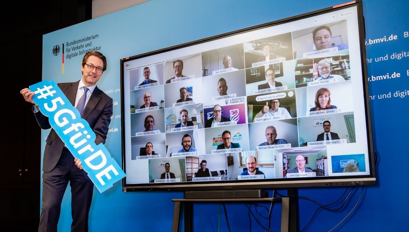 Bundesminister Andreas Scheuer am 23. April 2021 bei der digitalen Auftaktveranstaltung zur Ausweitung des 5G- Innovationswettbewerbs